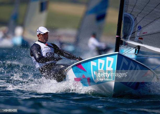 Ben Ainslie of Great Britain in action during the second Finn Class race of the London 2012 Olympic Games at the Weymouth Portland Venue at Weymouth...