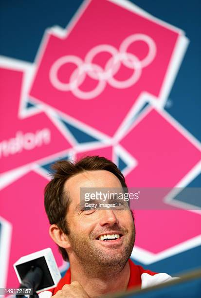 Ben Ainslie of Great Britain talks to the media during a Team GB press conference ahead of the London 2012 Olympic Games at the Weymouth and Portland...