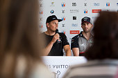 Ben Ainslie skipper of the LandRover BAR British Americas Cup team and Dean Barker skipper of SoftBank Team Japan during a press conference prior to...