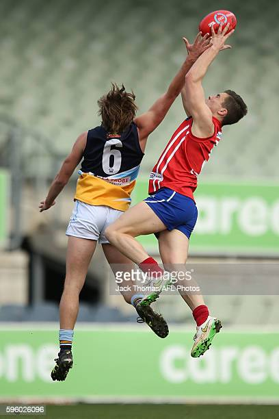 Ben Ainsworth of the Power marks the ball during the round 18 TAC Cup match between Gippsland Power and Bendigo Pioneers at Ikon Park on August 27...