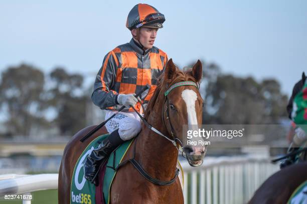 Ben Allen returns to the mounting yard on Deecember after winning the Bet365 Geelong Cup 25/10 Book Now BM58 Handicap at Geelong Synthetic Racecourse...