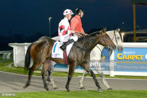 Ben Allen returns to the mounting yard on Educate after winning the Racingcom 3YO Maiden Plate at Racingcom Park Synthetic Racecourse on April 20...