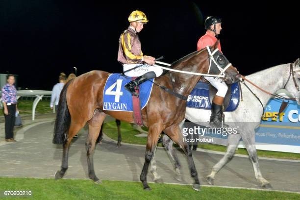 Ben Allen returns to the mounting yard on Savvy Bandit after winning the Star News Group BM64 Handicap at Racingcom Park Synthetic Racecourse on...