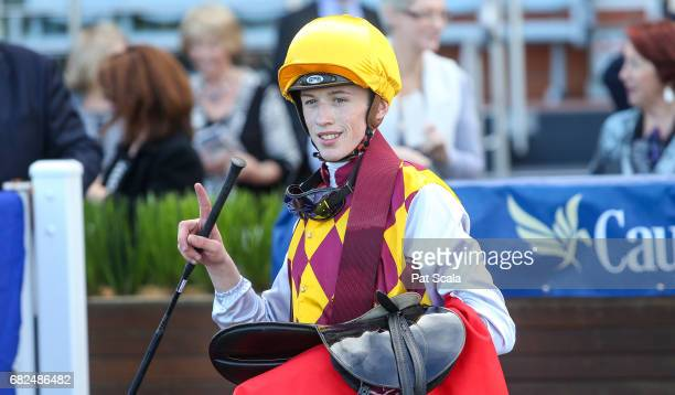 Ben Allen returns to the mounting yard on Thelburg after winning Recycal Handicapat Caulfield Racecourse on May 13 2017 in Caulfield Australia
