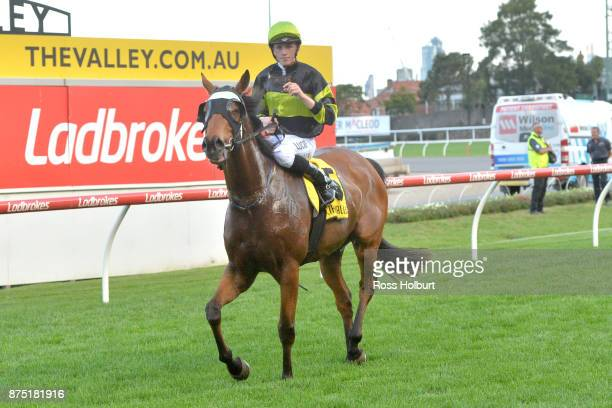 Ben Allen returns to the mounting yard on Weave after winning the Xmas at officialmemorabiliacomau Handicap at Moonee Valley Racecourse on November...