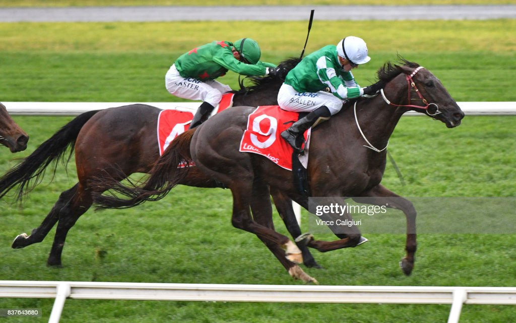 Ben Allen riding Andrea Mantegna wins Race 8 during Melbourne Racing at Sandown Hillside on August 23, 2017 in Melbourne, Australia.