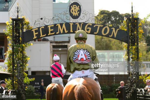 Ben Allen riding Another Coldie in the Anzac day colours after Race 3 during Melbourne Racing at Flemington Racecourse on April 25 2017 in Melbourne...
