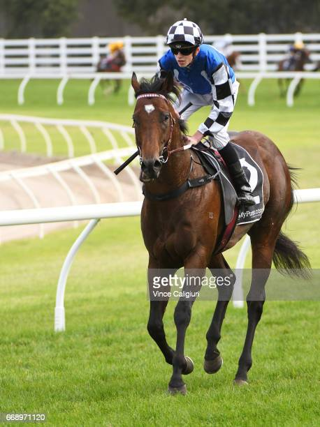 Ben Allen riding Articas after unplaced finish in Race 8 Victoria Handicap during Melbourne Racing at Caulfield Racecourse on April 15 2017 in...