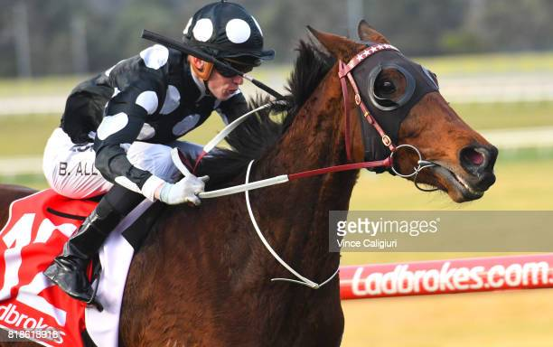 Ben Allen riding Chequered Flag wins Race 7 during Melbourne Racing at Sandown Hillside on July 19 2017 in Melbourne Australia