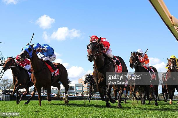 Ben Allen riding Olivier defeats Nick Hall riding Coram in Race 3 during Melbourne Racing at Caulfield Racecourse on April 30 2016 in Melbourne...
