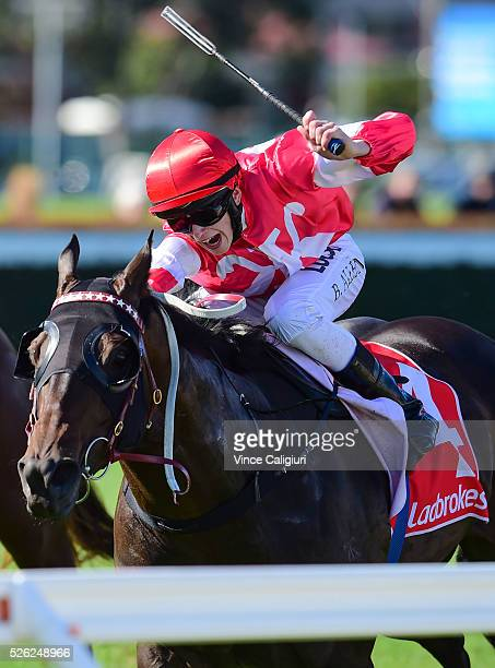 Ben Allen riding Olivier wins Race 3 during Melbourne Racing at Caulfield Racecourse on April 30 2016 in Melbourne Australia