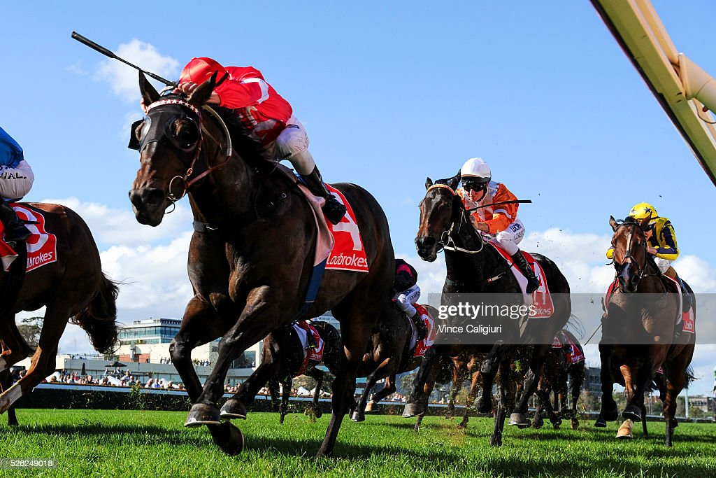 Ben Allen riding Olivier wins Race 3, during Melbourne Racing at Caulfield Racecourse on April 30, 2016 in Melbourne, Australia.