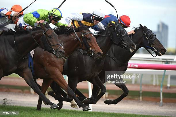 Ben Allen riding Scherzoso winning Race 8 during Melbourne racing at Flemington Racecourse on May 7 2016 in Melbourne Australia