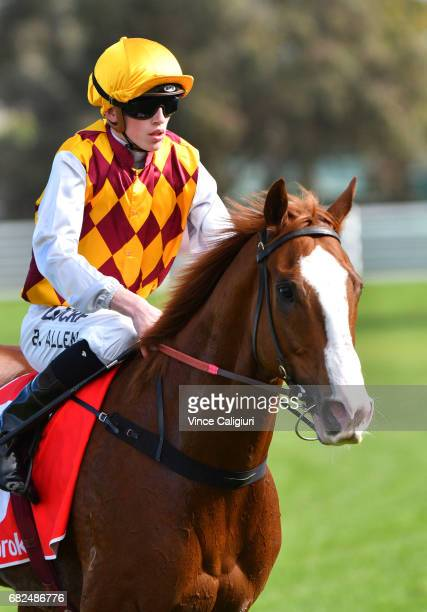 Ben Allen riding Thelburg after wining Race 4 during Melbourne Racing at Caulfield Racecourse on May 13 2017 in Melbourne Australia