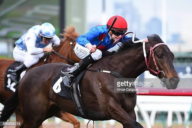 Ben Allen riding Ulmann wins Race 5 during Melbourne racing at Flemington Racecourse on August 6 2016 in Melbourne Australia