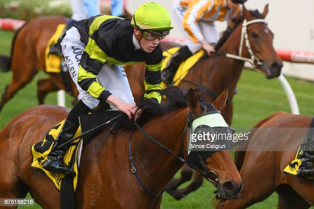 Ben Allen riding Weave wins Race 2 during Melbourne Racing at Moonee Valley Racecourse on November 17 2017 in Melbourne Australia