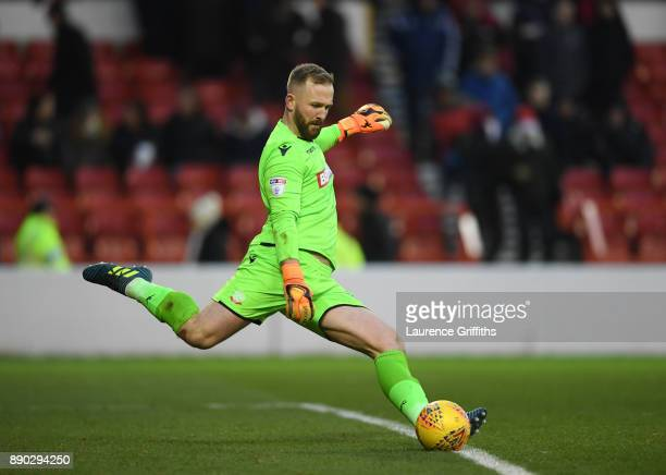 Ben Alnwick of Bolton Wanderers takes a goal kick during the Sky Bet Championship match between Nottingham Forest and Bolton Wanderers at City Ground...