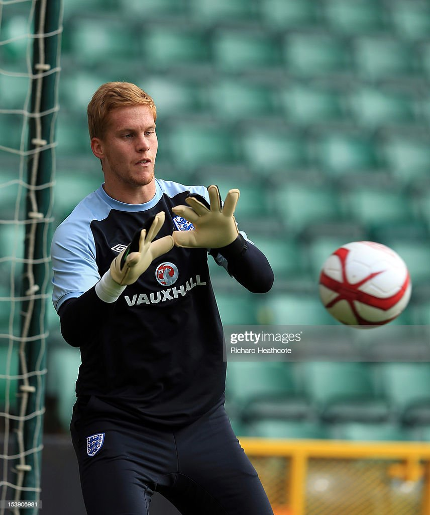 Ben Amos in action during the England U21 training session at Carrow Road on October 11, 2012 in Norwich, England. England's U21 team will play Serbia U21 in the first leg of the U21 European Championship play-off's at Carrow Road tomorrow night.