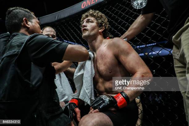 Ben Askren between rounds during ONE Championship Shanghai at the Shanghai Oriental Sports Center on September 02 2017 in Shanghai China