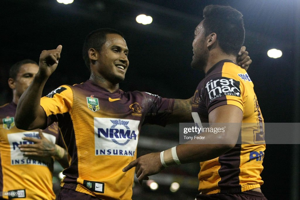 <a gi-track='captionPersonalityLinkClicked' href=/galleries/search?phrase=Ben+Barba&family=editorial&specificpeople=5476664 ng-click='$event.stopPropagation()'>Ben Barba</a> and Alex Glenn of the Broncos celebrate a try during the round seven NRL match between the Newcastle Knights and the Brisbane Broncos at Hunter Stadium on April 18, 2014 in Newcastle, Australia.