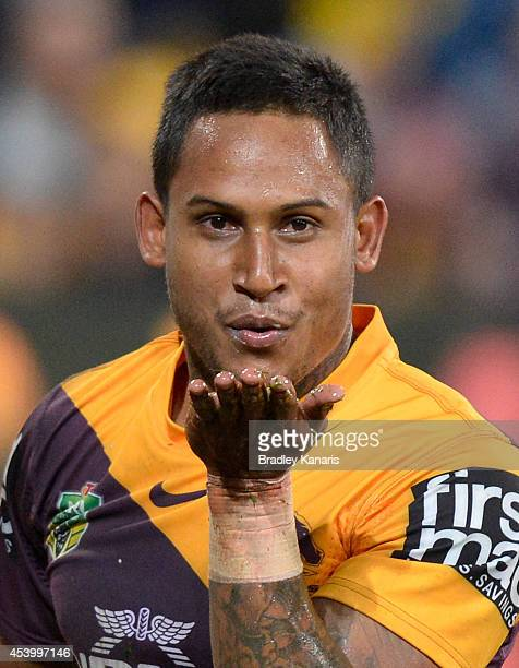 Ben Barba of the Broncos celebrates a try during the round 24 NRL match between the Brisbane Broncos and the Newcastle Knights at Suncorp Stadium on...