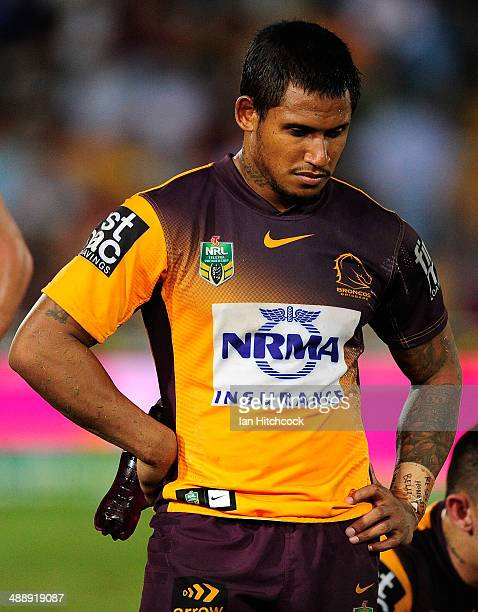 Ben Barba of the Broncos looks dejected after losing the round nine NRL match between the North Queensland Cowboys and the Brisbane Broncos at...