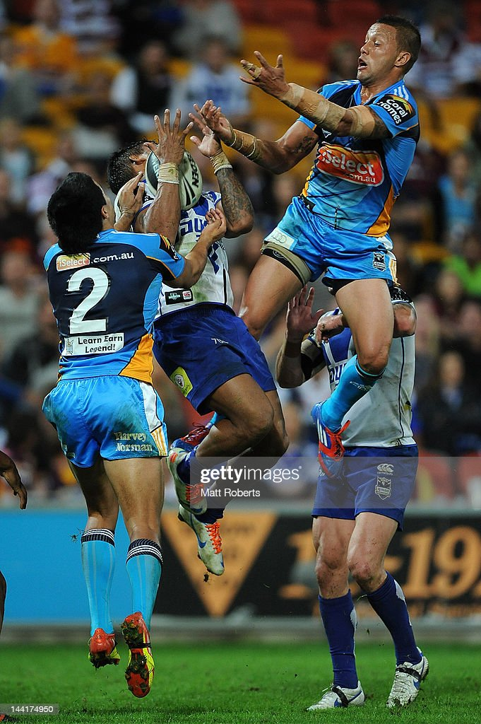 Ben Barba of the Bulldogs catches the ball during the round 10 NRL match between the Canterbury Bulldogs and the Gold Coast Titans at Suncorp Stadium on May 11, 2012 in Brisbane, Australia.