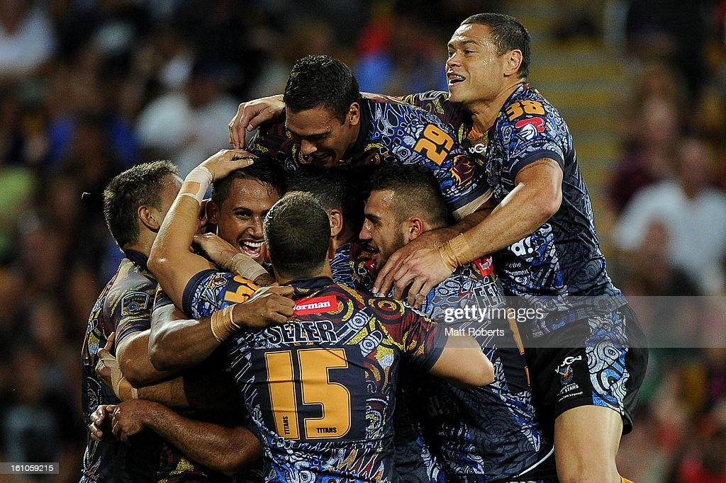 Ben Barba of the Indigenous All Stars celebrates a try with team mates during the NRL All Stars Game between the Indigenous All Stars and the NRL All Stars at Suncorp Stadium on February 9, 2013 in Brisbane, Australia.