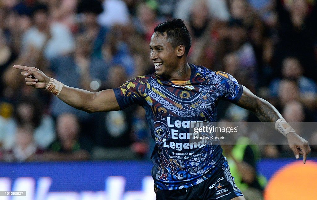 Ben Barba of the Indigenous All Stars celebrates after scoring a try during the NRL All Stars Game between the Indigenous All Stars and the NRL All Stars at Suncorp Stadium on February 9, 2013 in Brisbane, Australia.