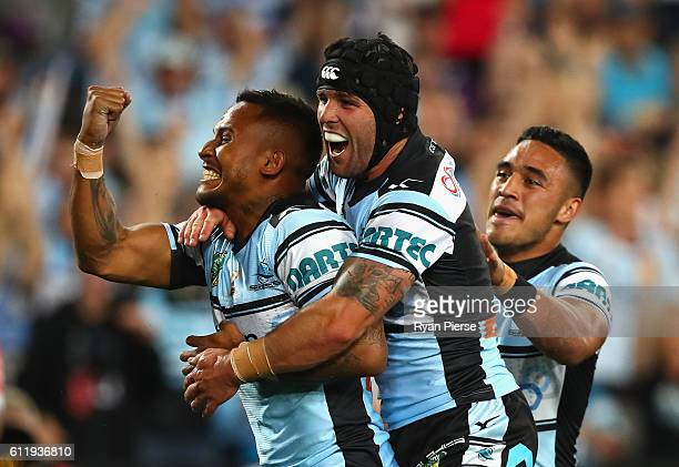 Ben Barba of the Sharks celebrates after scoring a try during the 2016 NRL Grand Final match between the Cronulla Sutherland Sharks and the Melbourne...