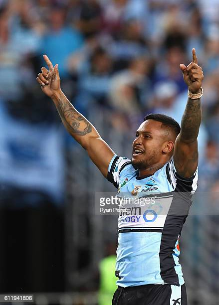 Ben Barba of the Sharks celebrates victory during the 2016 NRL Grand Final match between the Cronulla Sutherland Sharks and the Melbourne Storm at...