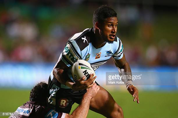 Ben Barba of the Sharks is tackled during the round three NRL match between the Manly Sea Eagles and the Cronulla Sharks at Brookvale Oval on March...
