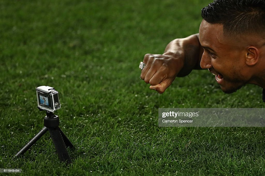 Ben Barba of the Sharks poses with his Premiership ring after winning the 2016 NRL Grand Final match between the Cronulla Sharks and the Melbourne Storm at ANZ Stadium on October 2, 2016 in Sydney, Australia.