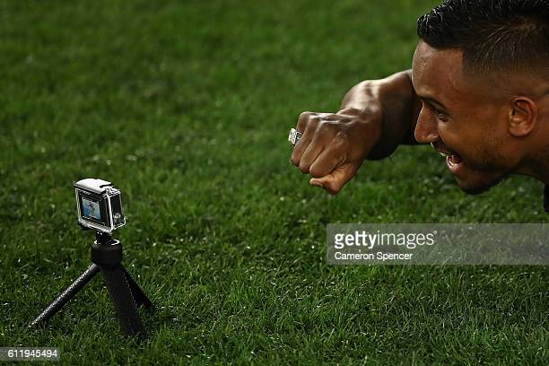 Ben Barba of the Sharks poses with his Premiership ring after winning the 2016 NRL Grand Final match between the Cronulla Sharks and the Melbourne...