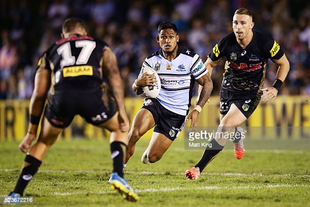 Ben Barba of the Sharks runs with the ball during the round eight NRL match between the Cronulla Sharks and the Penrith Panthers at Southern Cross...