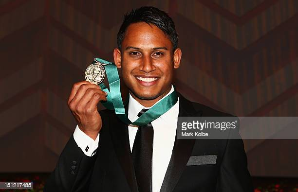 Ben Barba poses with the Dally M Medal at the 2012 NRL Dally M Awards at Sydney Town Hall on September 4 2012 in Sydney Australia