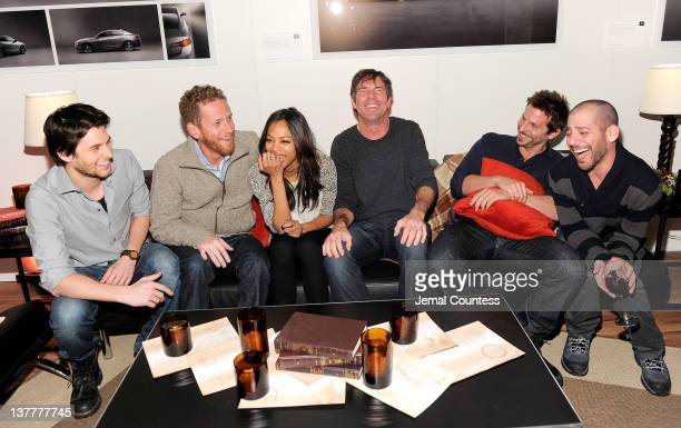 Ben Barnes Director Brian Klugman Zoe Saldana Dennis Quaid Bradley Cooper and Director Lee Sternthal attend 'The Words' Dinner At Acura Studio on...