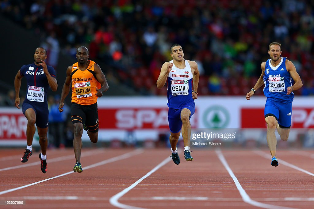 Ben Bassaw of France Churandy Martina of the Netherlands Adam Gemili of Great Britain and Northern Ireland and LikourgosStefanos Tsakonas of Greece...