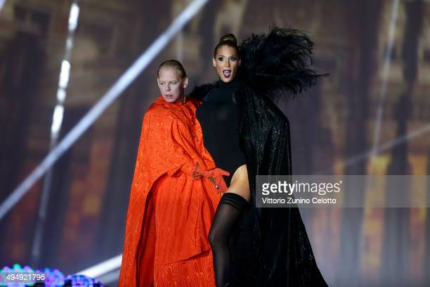 Ben Becker and Carmen Carrera are seen on stage during the Lifeball 2014 at City Hall on May 31 2014 in Vienna Austria