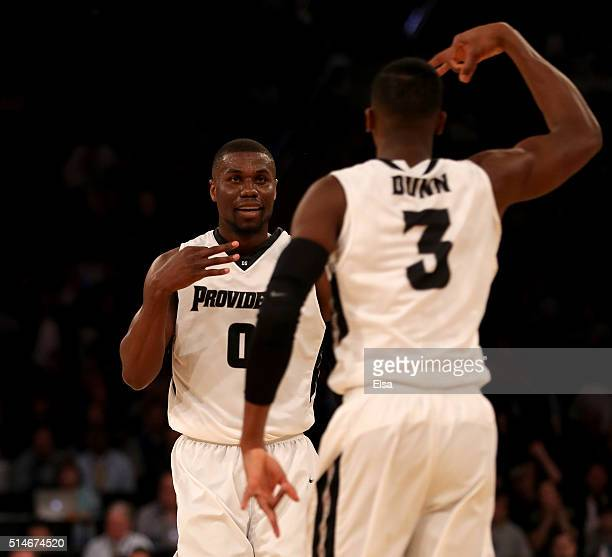 Ben Bentil of the Providence Friars celebrates his three point shot with teammate Kris Dunn in the second half against the Butler Bulldogs during the...