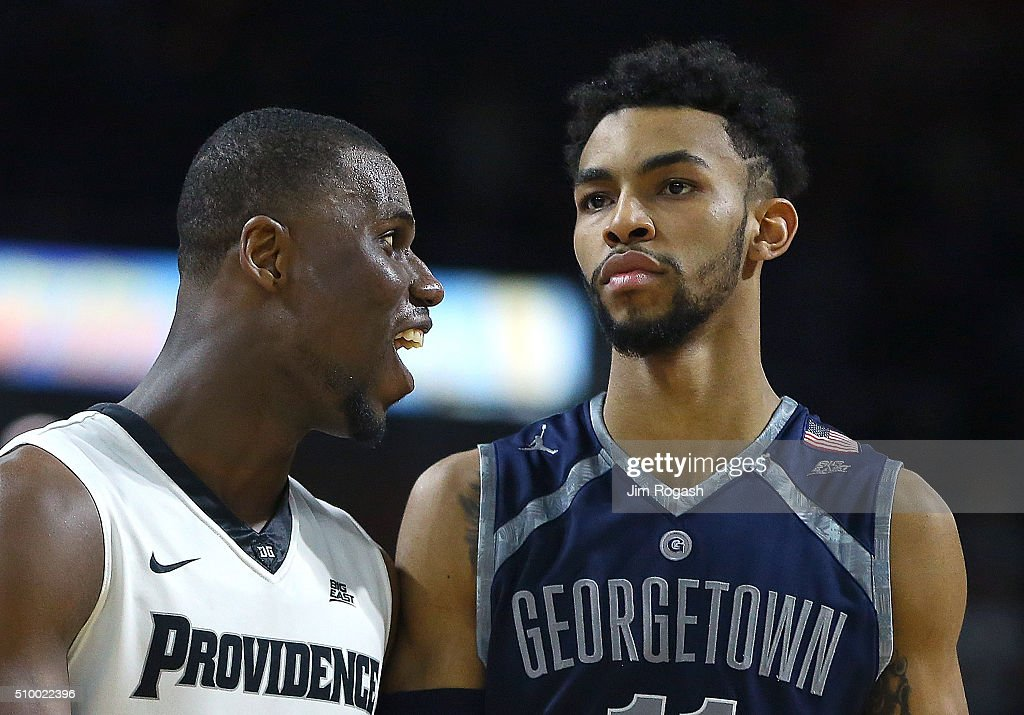 Ben Bentil #0 of the Providence Friars has words with <a gi-track='captionPersonalityLinkClicked' href=/galleries/search?phrase=Isaac+Copeland&family=editorial&specificpeople=11049636 ng-click='$event.stopPropagation()'>Isaac Copeland</a> #11 of the Georgetown Hoyas in the second half on February 13, 2016, at the Dunkin' Donuts Center in Providence, Rhode Island.