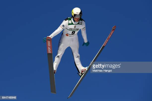 Ben Berend of the United States makes a practice jump prior to the Men's Nordic Combined HS100 during the FIS Nordic World Ski Championships on...