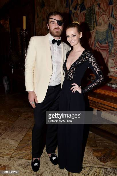Ben Berube and Lydia Hearst attend Hearst Castle Preservation Foundation Benefit Weekend 'James Bond 007 Costume Gala' at Hearst Castle on September...