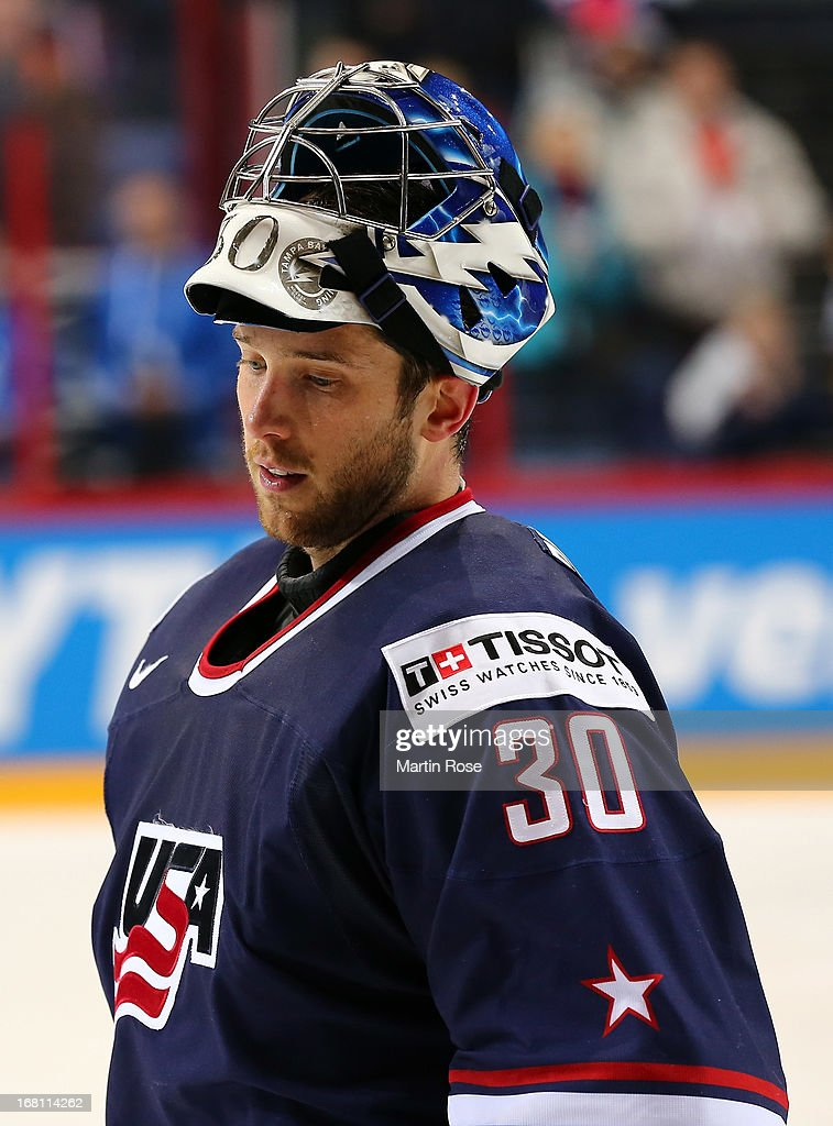 <a gi-track='captionPersonalityLinkClicked' href=/galleries/search?phrase=Ben+Bishop&family=editorial&specificpeople=700137 ng-click='$event.stopPropagation()'>Ben Bishop</a>, goaltender of USA battle looks on after the IIHF World Championship group H match between Latvia and USA at Hartwall Areena on May 5, 2013 in Helsinki, Finland.