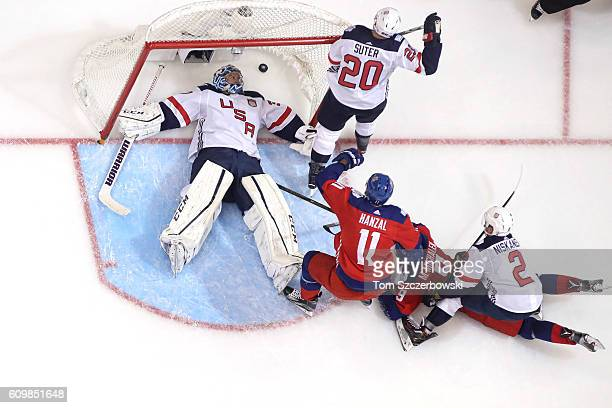 Ben Bishop of Team USA is beaten on a goal resulting from a goalmouth scramble by Milan Michalek of Team Czech Republic during the World Cup of...