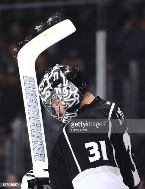 Ben Bishop of the Los Angeles Kings reacts after a power play goal from Patrik Laine of the Winnipeg Jets for a 21 lead during the first period at...