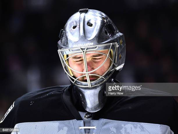 Ben Bishop of the Los Angeles Kings reacts during a stop in play with his team trailing 42 to the Vancouver Canucks during the third period at...