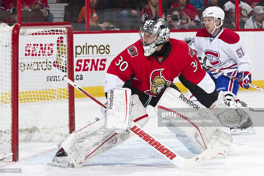 Ben Bishop #30 of the Ottawa Senators follows the play, during an NHL game against the Montreal Canadiens, at Scotiabank Place on February 25, 2013 in Ottawa, Ontario, Canada.
