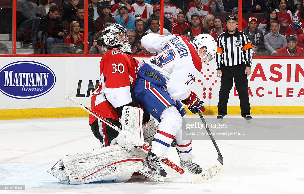 <a gi-track='captionPersonalityLinkClicked' href=/galleries/search?phrase=Ben+Bishop&family=editorial&specificpeople=700137 ng-click='$event.stopPropagation()'>Ben Bishop</a> #30 of the Ottawa Senators makes a save as Brendan Gallagher #73 of the Montreal Canadiens provides a screen, during an NHL game at Scotiabank Place on February 25, 2013 in Ottawa, Ontario, Canada.