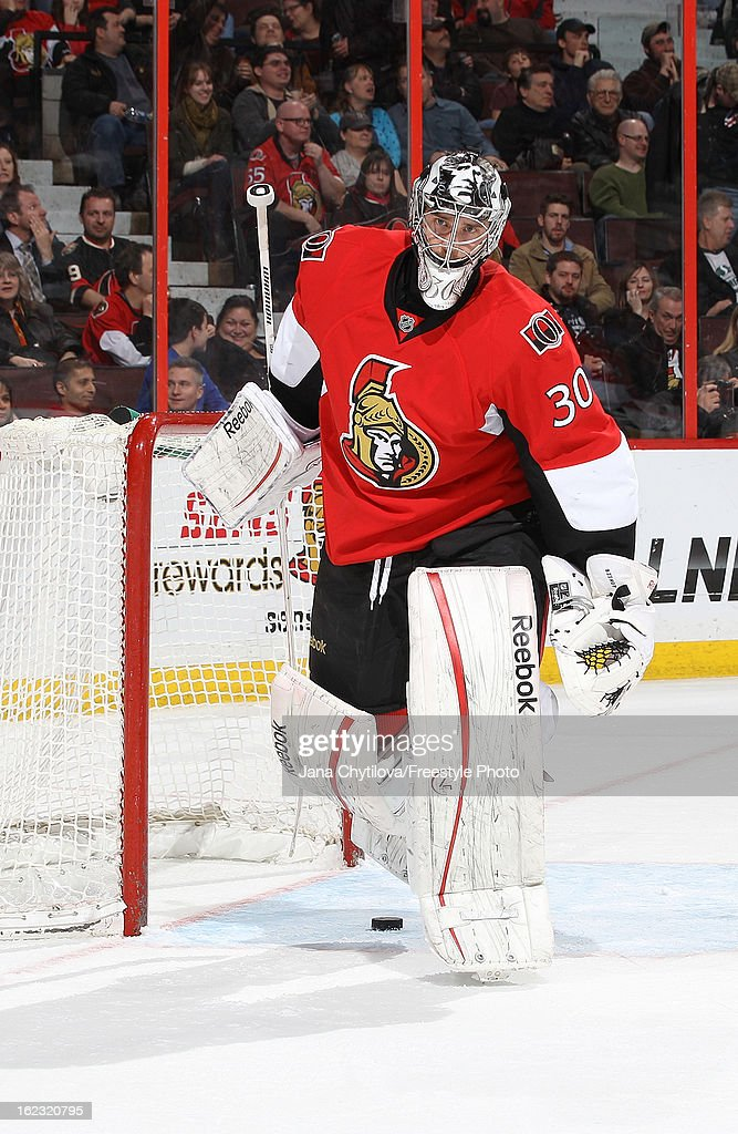 <a gi-track='captionPersonalityLinkClicked' href=/galleries/search?phrase=Ben+Bishop&family=editorial&specificpeople=700137 ng-click='$event.stopPropagation()'>Ben Bishop</a> #30 of the Ottawa Senators reacts after allowing the tying goal, during an NHL game against the New York Rangers, at Scotiabank Place on February 21, 2013 in Ottawa, Ontario, Canada.